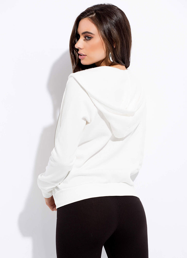 Let's Go Zip-Front Drawstring Hoodie WHITE