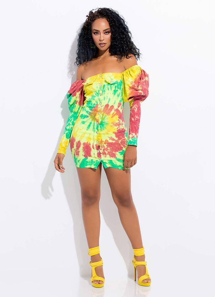 Puff Mami Off-Shoulder Tie-Dye Dress MULTI
