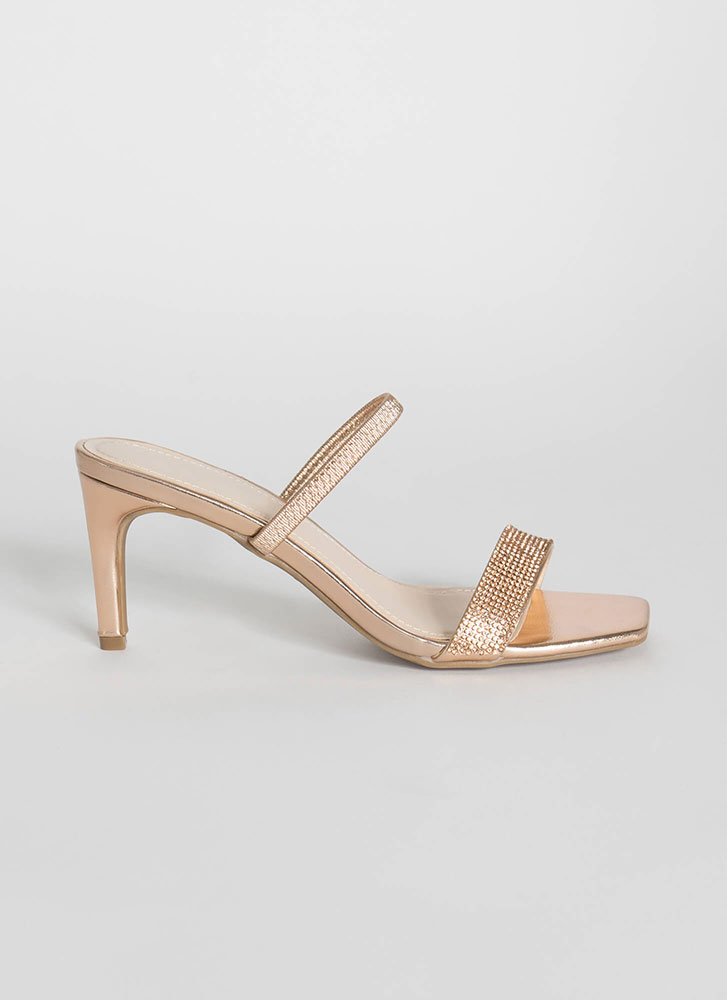 Big Night Strappy Jeweled Slip-On Heels ROSEGOLD (Final Sale)