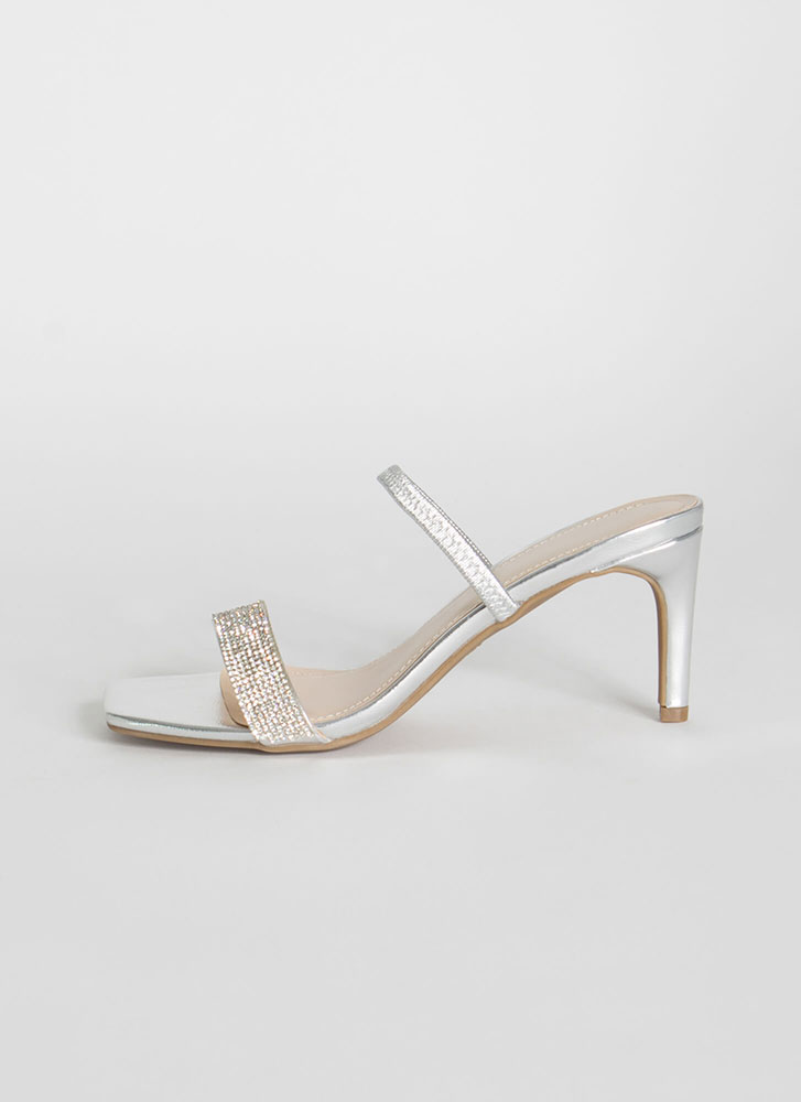 Big Night Strappy Jeweled Slip-On Heels SILVER