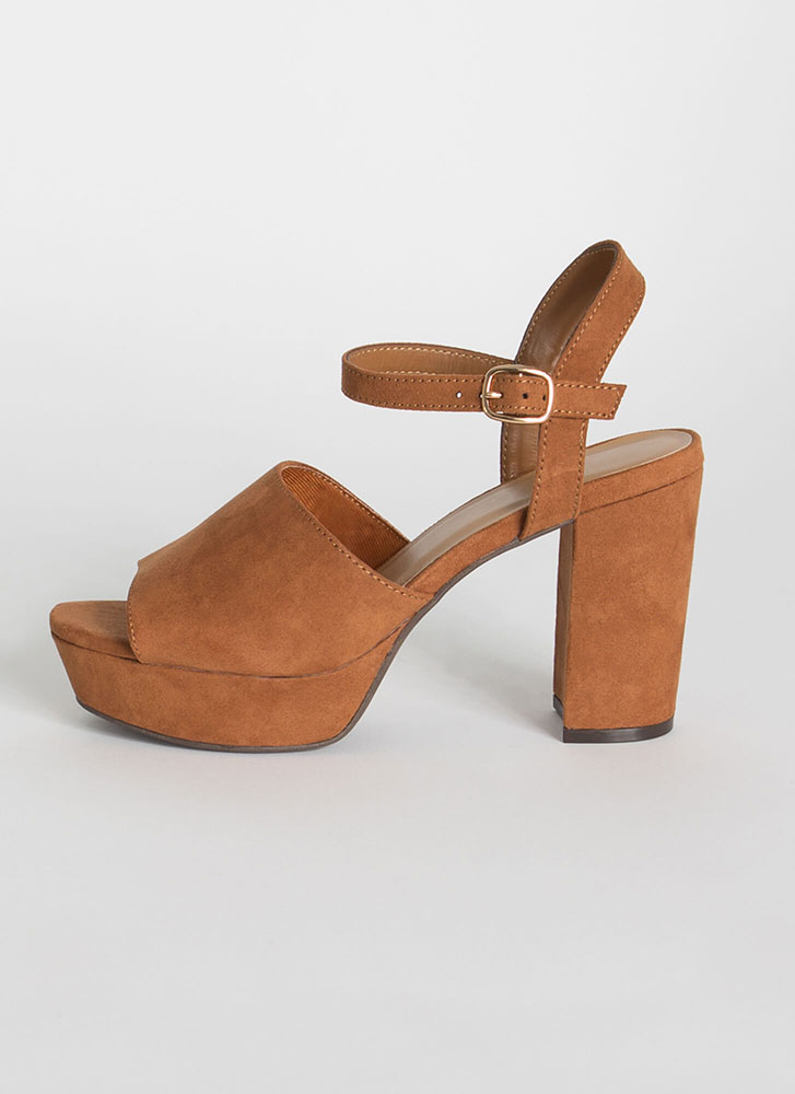 Keep It Chunky Faux Suede Platform Heels DKCAMEL