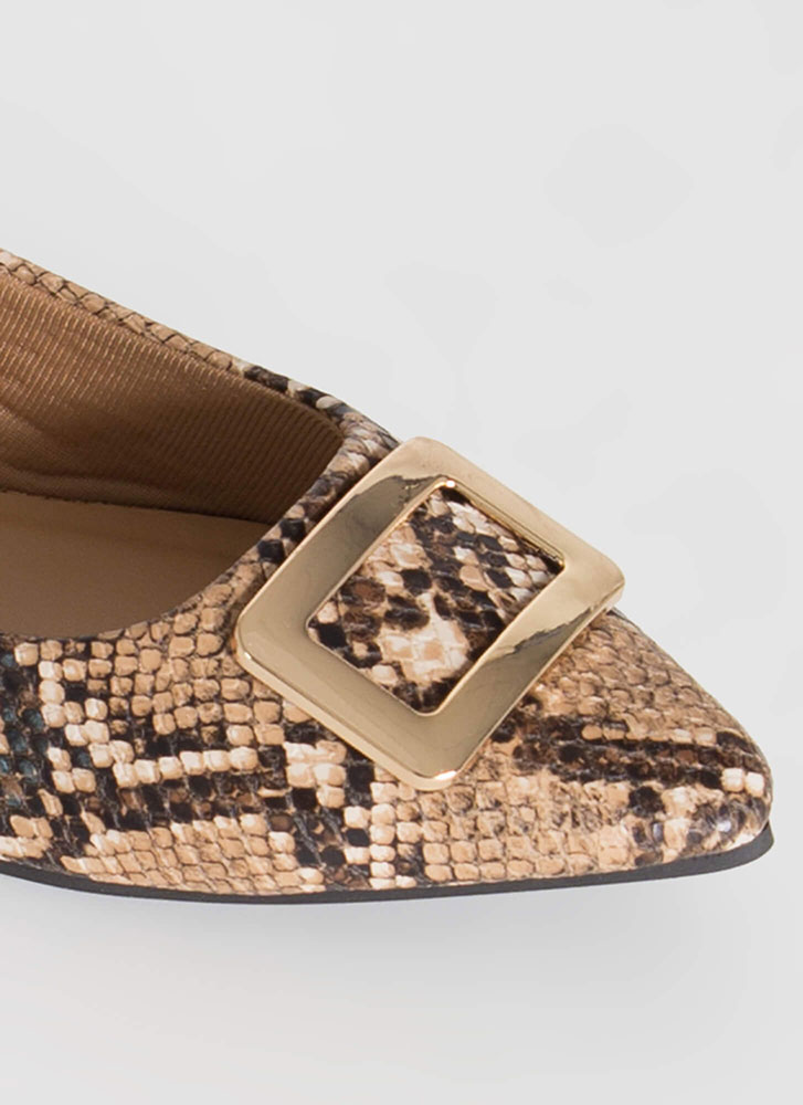 Buckle My Faux Snake Pointy Flats TAN
