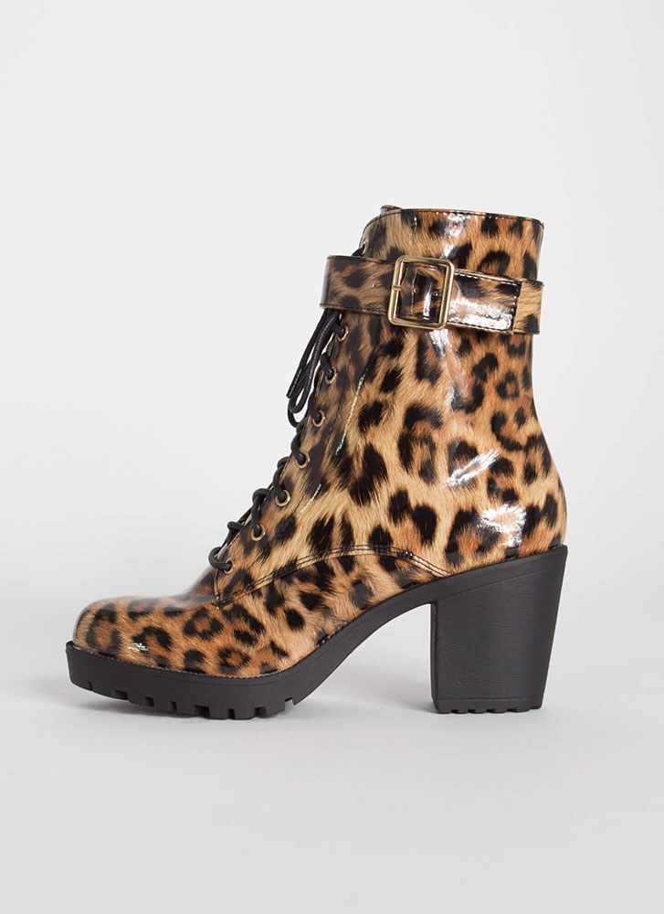 Chopping Block Ankle Strap Booties LEOPARD