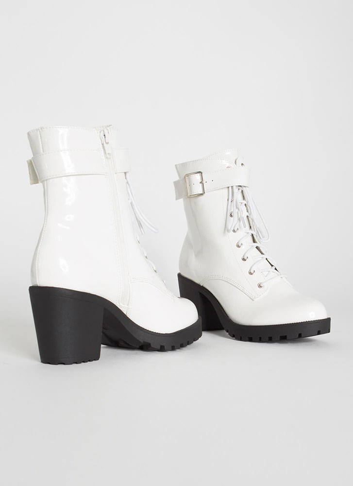 Chopping Block Ankle Strap Booties WHITE