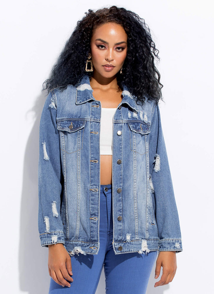 Chain-Back To The Future Denim Jacket BLUE