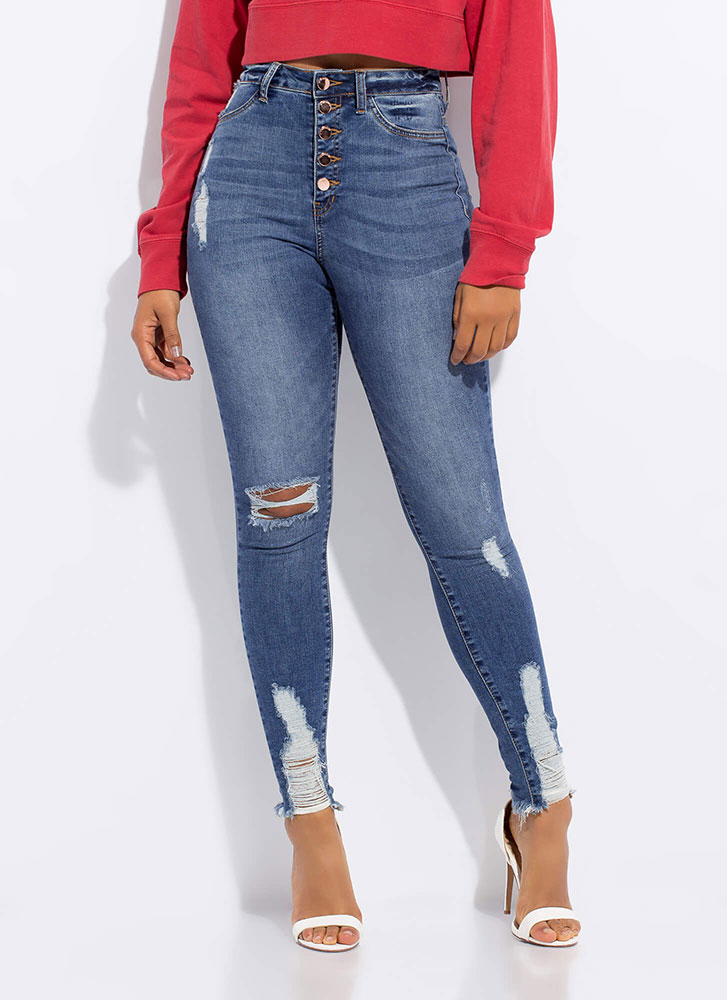 Button-Fly Girl Distressed Skinny Jeans MEDBLUE