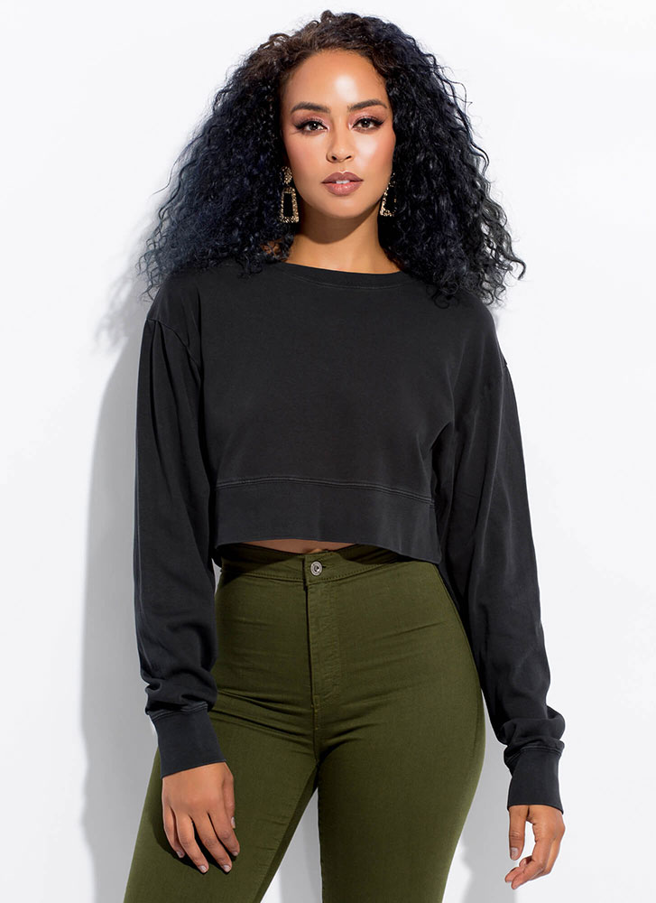 Easy Way Out Cropped Sweatshirt BLACK