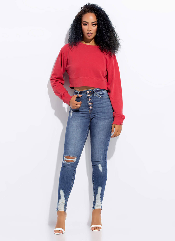Easy Way Out Cropped Sweatshirt RED