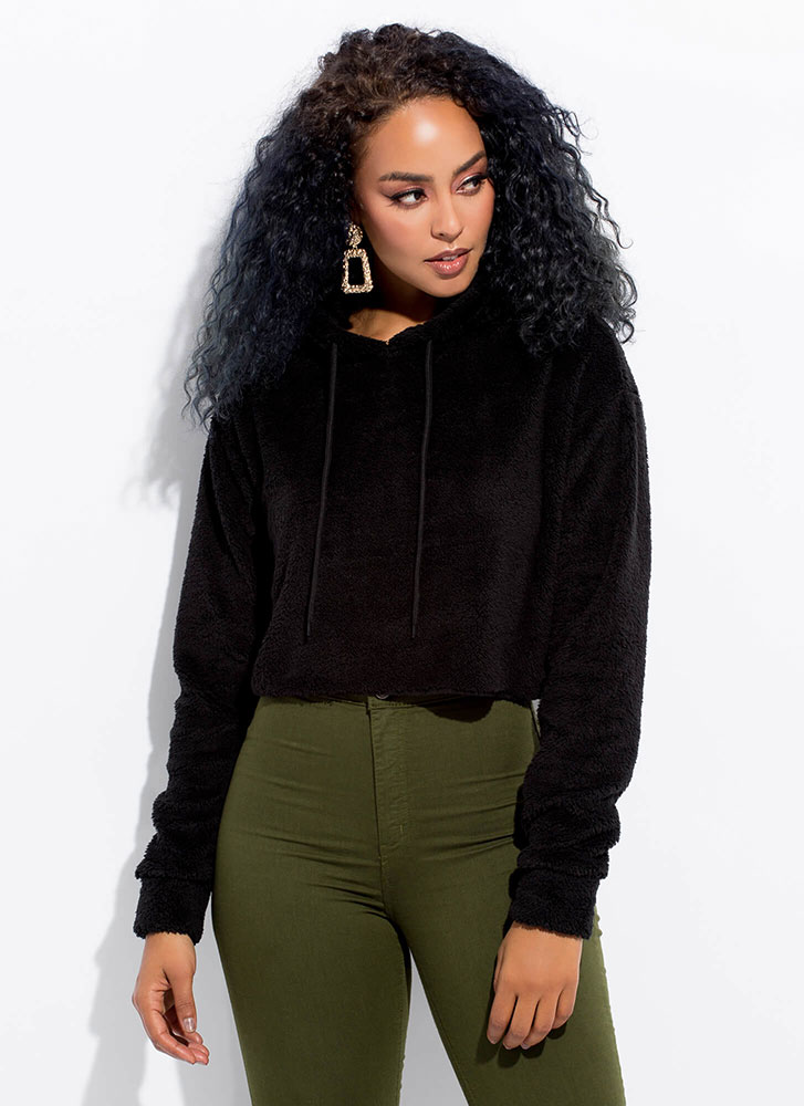 Fleece And Love Furry Cropped Hoodie BLACK