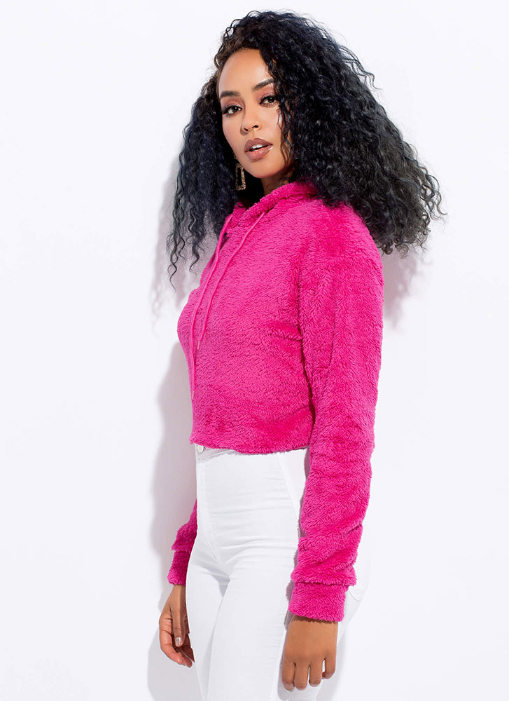Fleece And Love Furry Cropped Hoodie MAGENTA