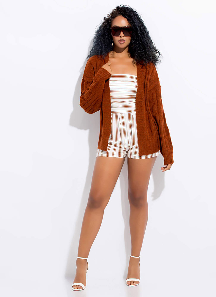 Sweater Weather Cable Knit Cardigan RUST