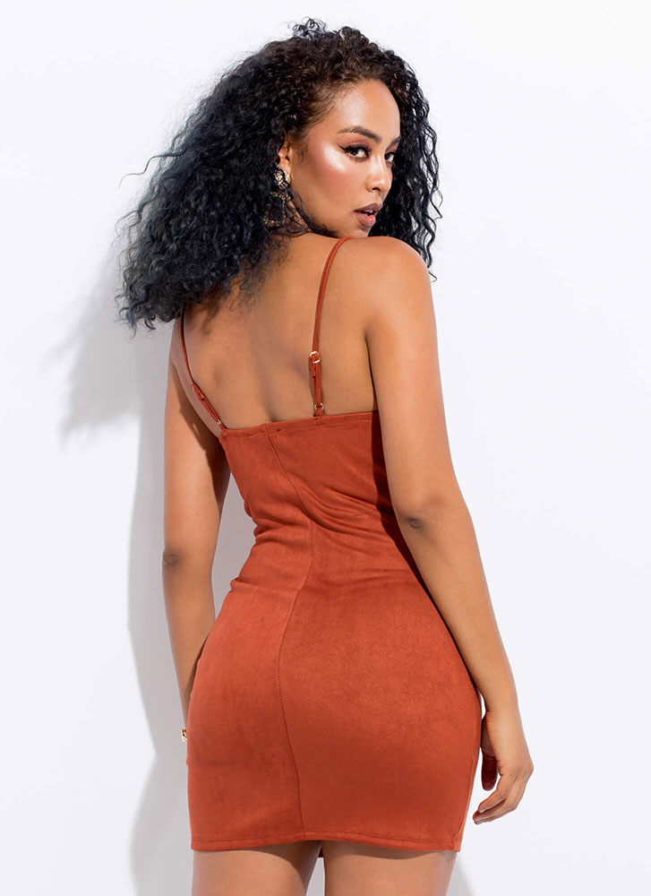 Ring It Up Zip-Up Faux Suede Minidress RUST