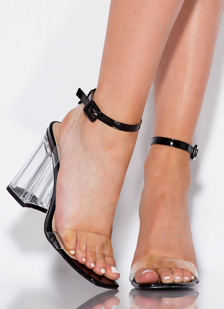Clear For Takeoff Chunky Lucite Heels BLACK