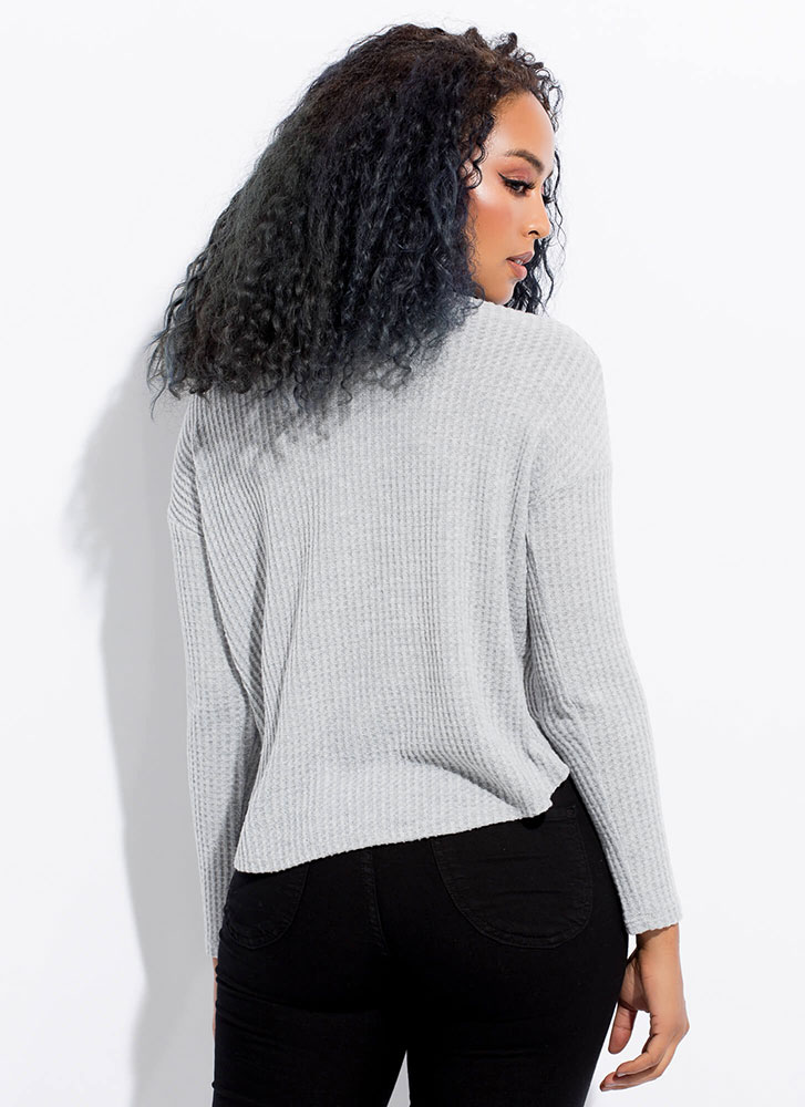 Warm Wishes Button-Up Waffle Knit Top GREY