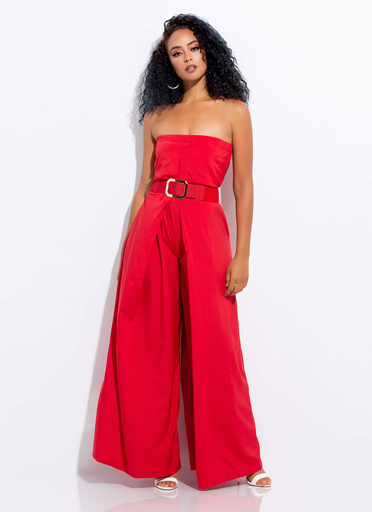 Wide Awake Pleated Palazzo Jumpsuit RED