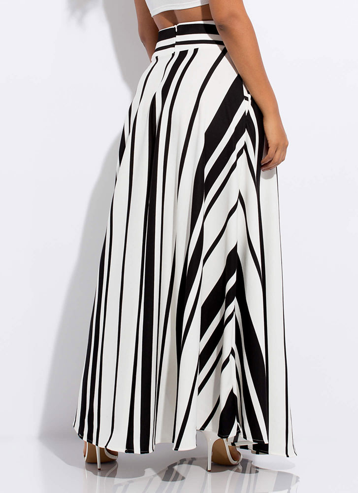 Out Of Lines Striped Flared Maxi Skirt BLACKWHITE