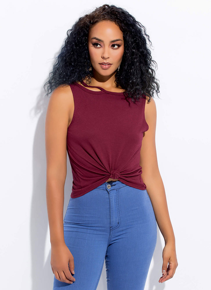 Strap-Happy Knotted Cut-Out Top BURGUNDY