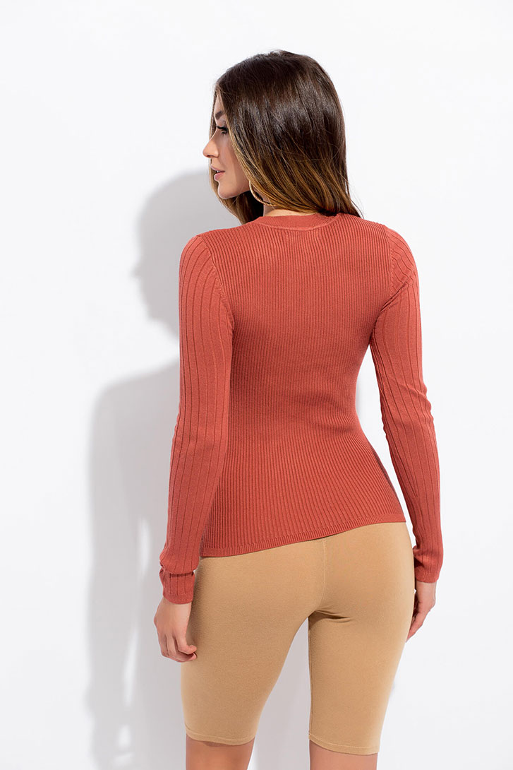 Keep It Basic Long-Sleeved Rib Knit Top RUST
