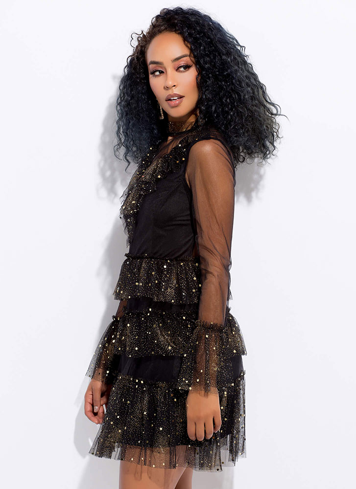 Stardust Sparkly Tiered Mesh Dress BLACK