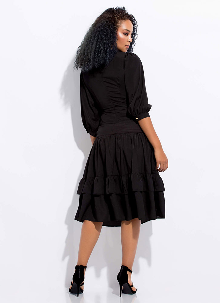 Enchanted Tied Tiered Cut-Out Dress BLACK
