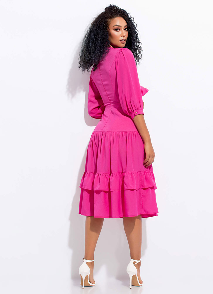 Enchanted Tied Tiered Cut-Out Dress HOTPINK