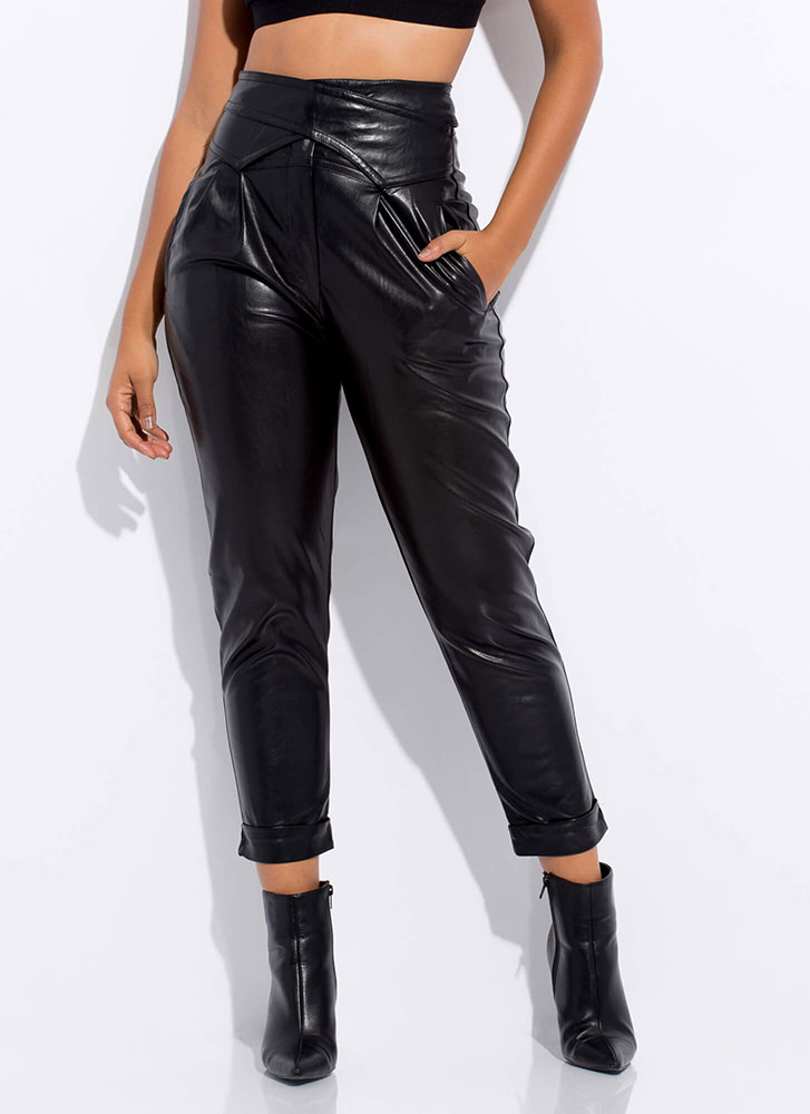 Assassin Pleated Faux Leather Trousers BLACK