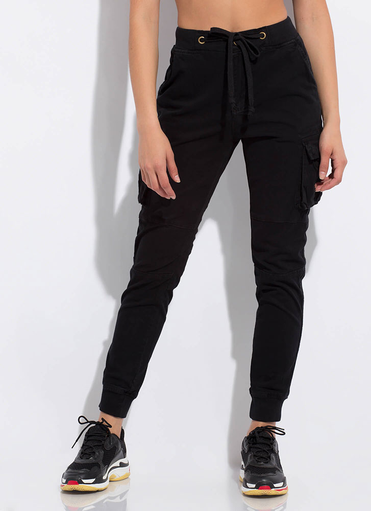 Too Cool For School Cargo Joggers BLACK