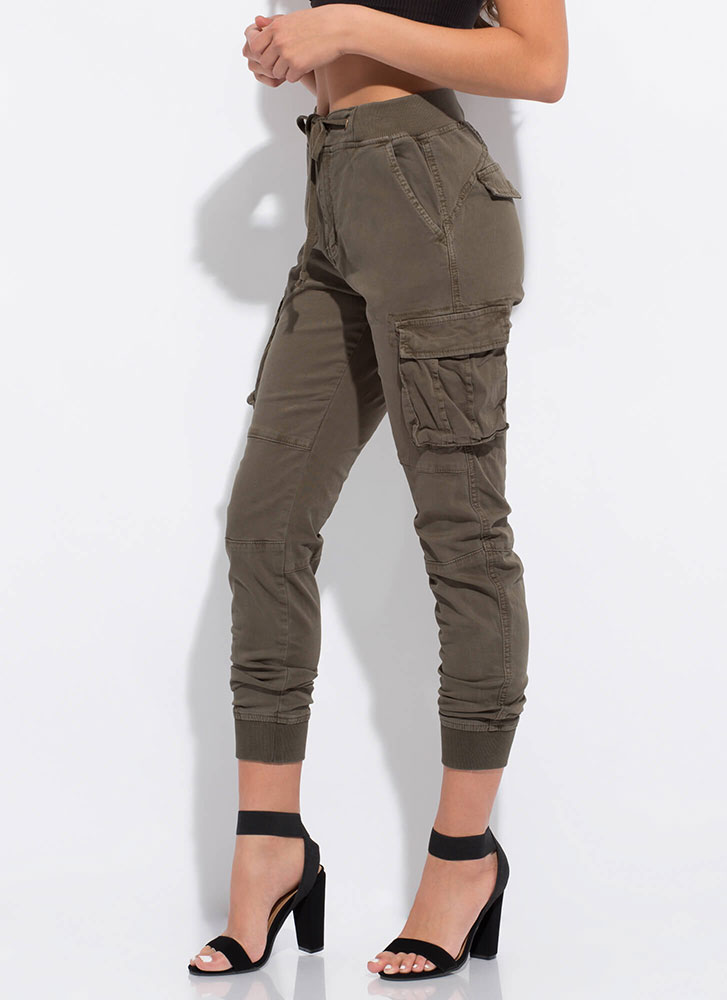 Too Cool For School Cargo Joggers OLIVE