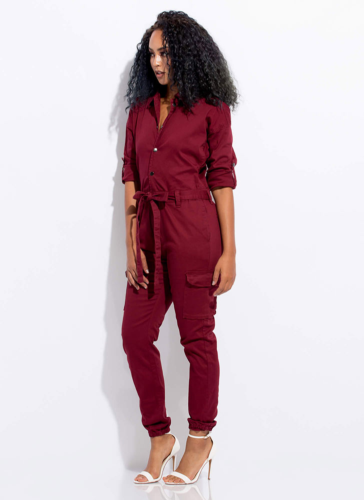 Cute Cargo Tied Utility Jumpsuit BURGUNDY