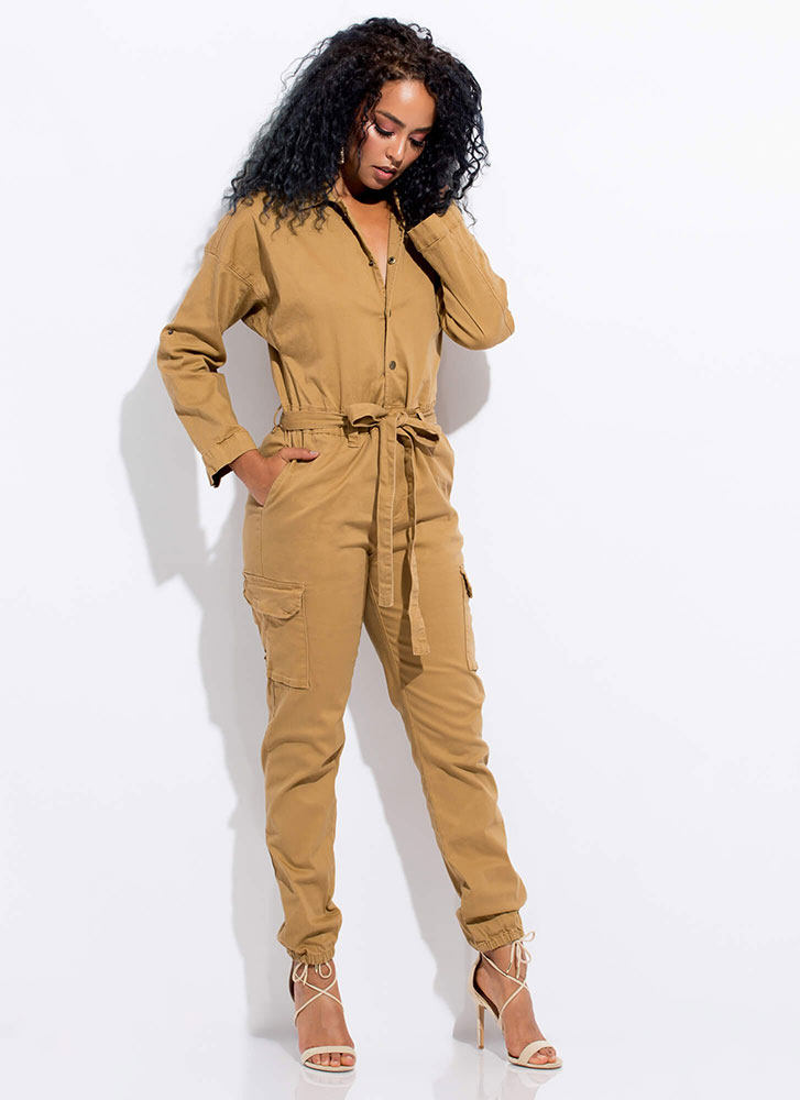 Cute Cargo Tied Utility Jumpsuit WHEAT