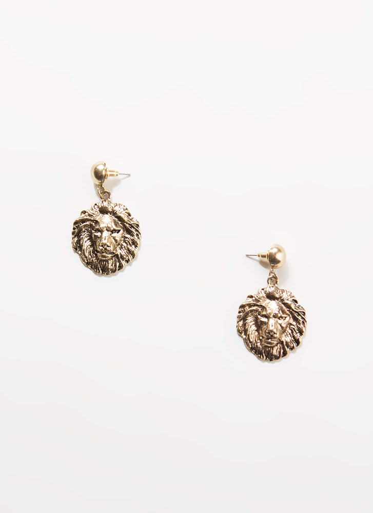Hear Me Roar Lion Head Earrings GOLD