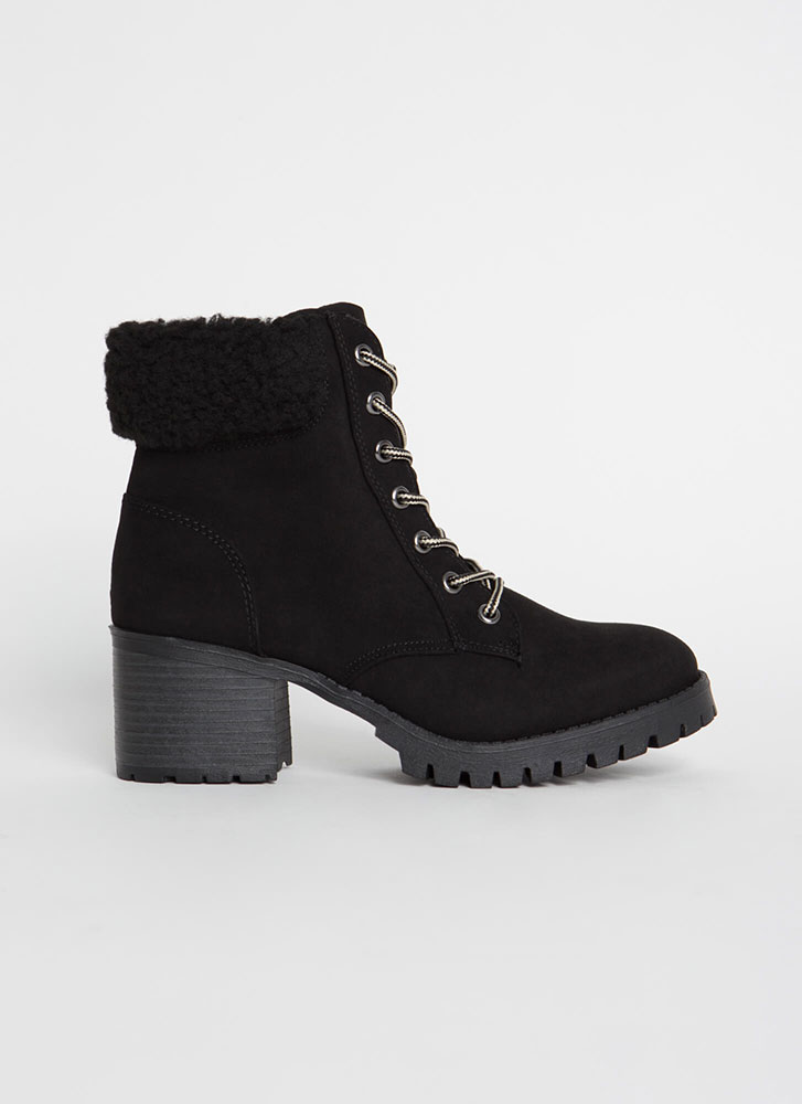Cuff Me Chunky Faux Shearling Booties BLACK