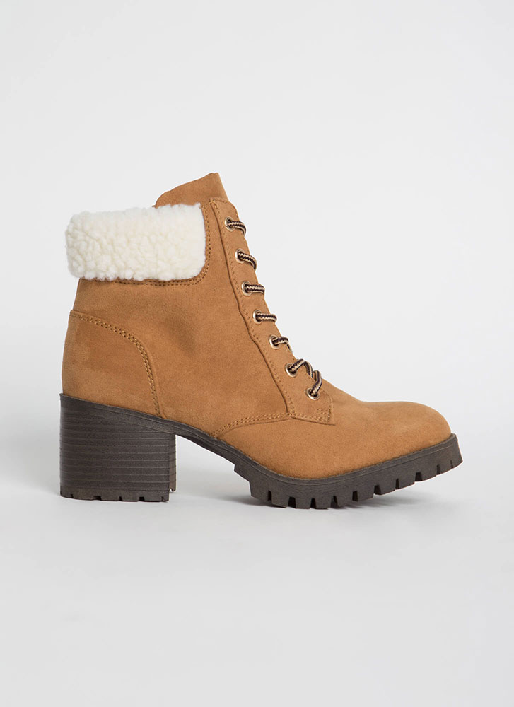 Cuff Me Chunky Faux Shearling Booties TAN
