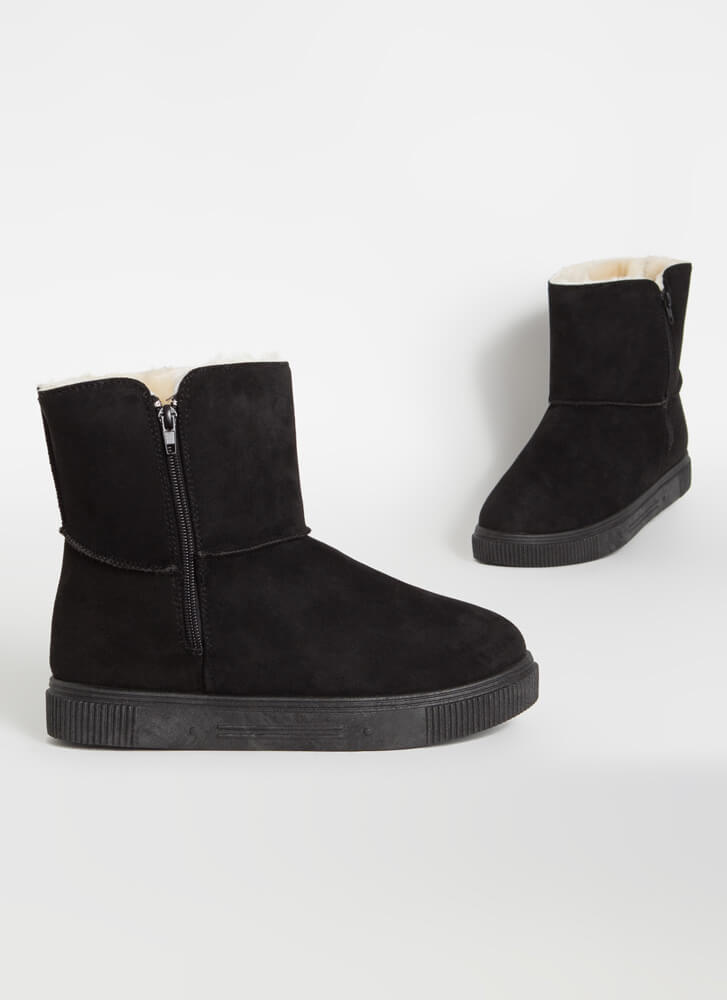 Shearling Beloved Faux Suede Boots BLACK