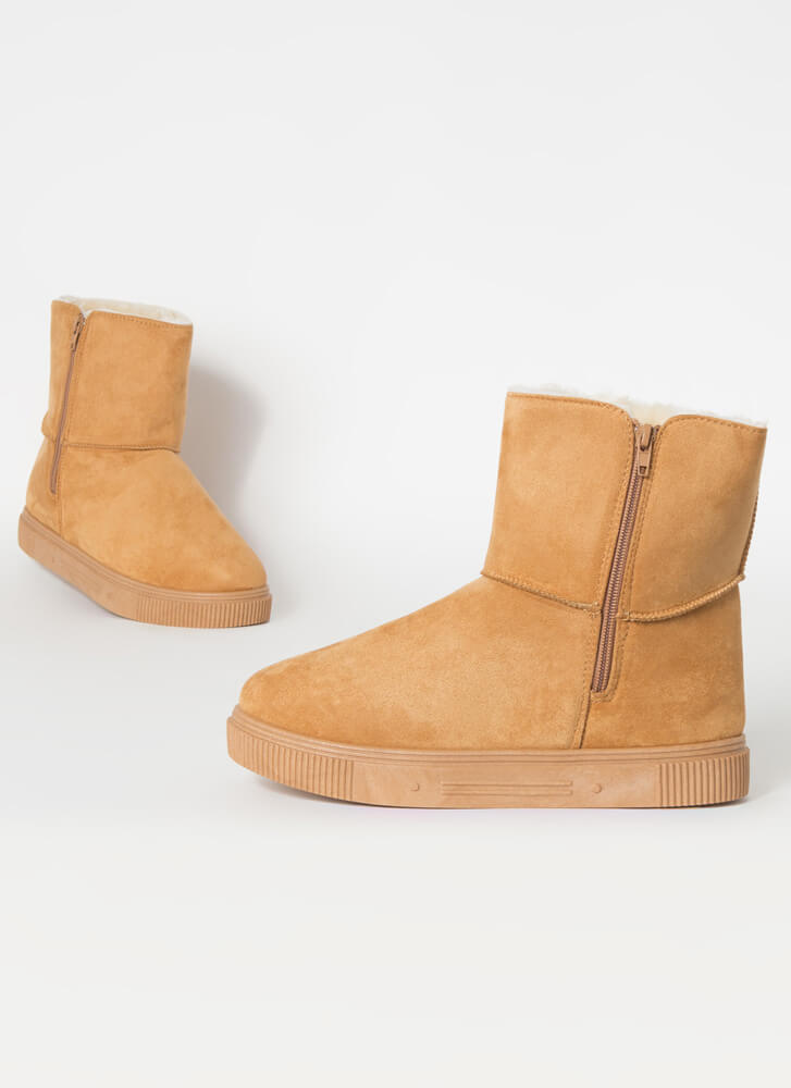 Shearling Beloved Faux Suede Boots TAN