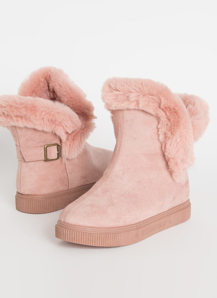 Furry Along Cuffed Pull-On Boots DESERTROSE