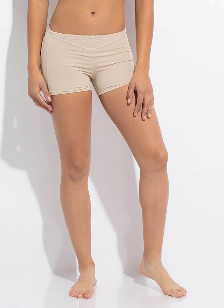 Squat Challenge Cut-Out Butt Lift Shorts BEIGE (Final Sale)