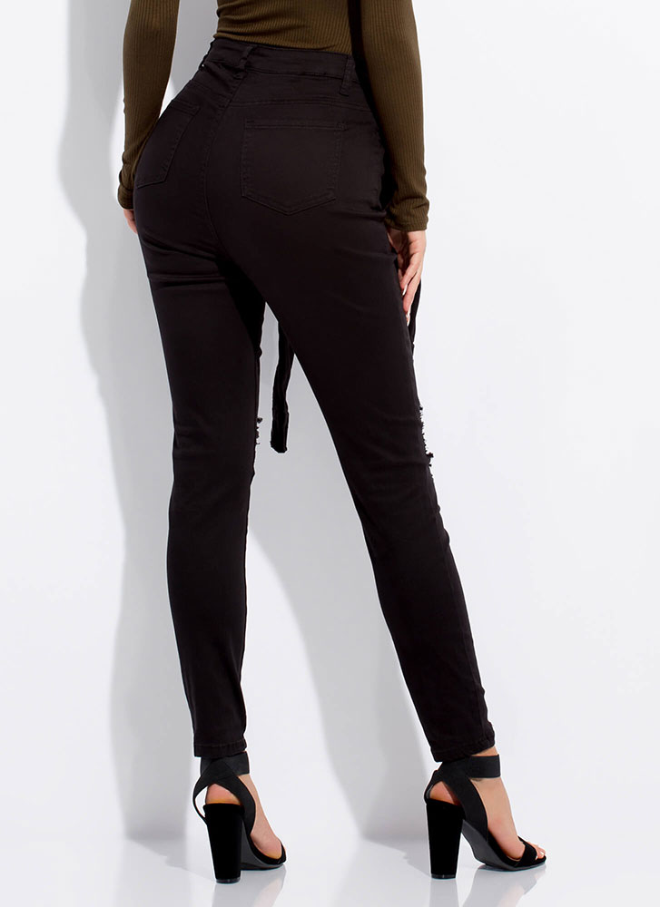 Sleeve Your Mark Distressed Skinny Jeans BLACK