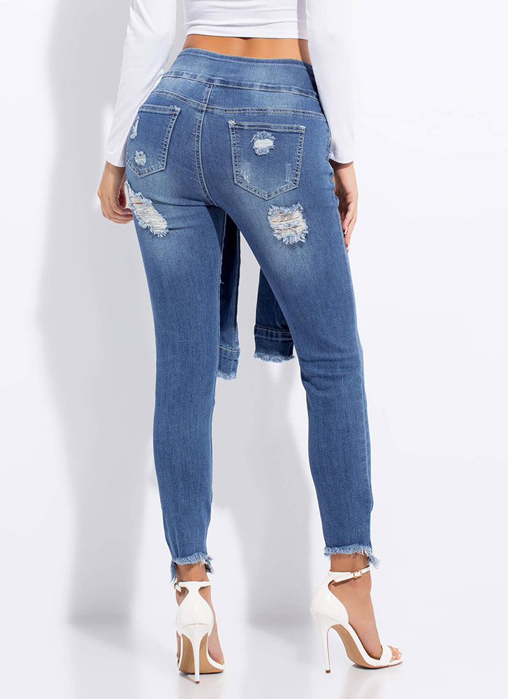 Sleeve Your Mark Destroyed Skinny Jeans BLUE