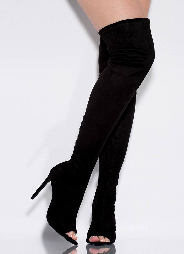 Toe Touch Peep-Toe Thigh-High Boots BLACK