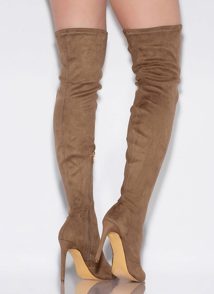 Toe Touch Peep-Toe Thigh-High Boots TAUPE