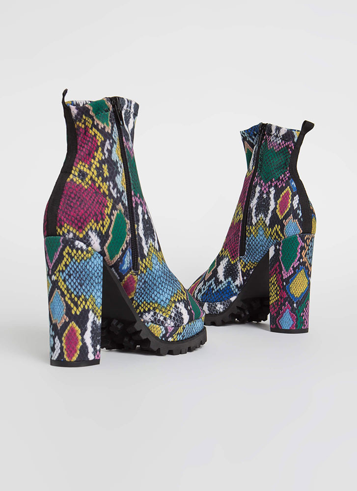 Snake In Love Chunky Peep-Toe Booties MULTISNAKE (Final Sale)