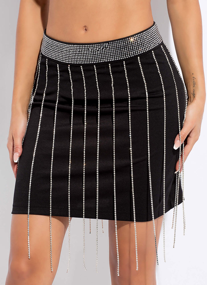 Party Time Rhinestone Fringe Skirt BLACKSILVER