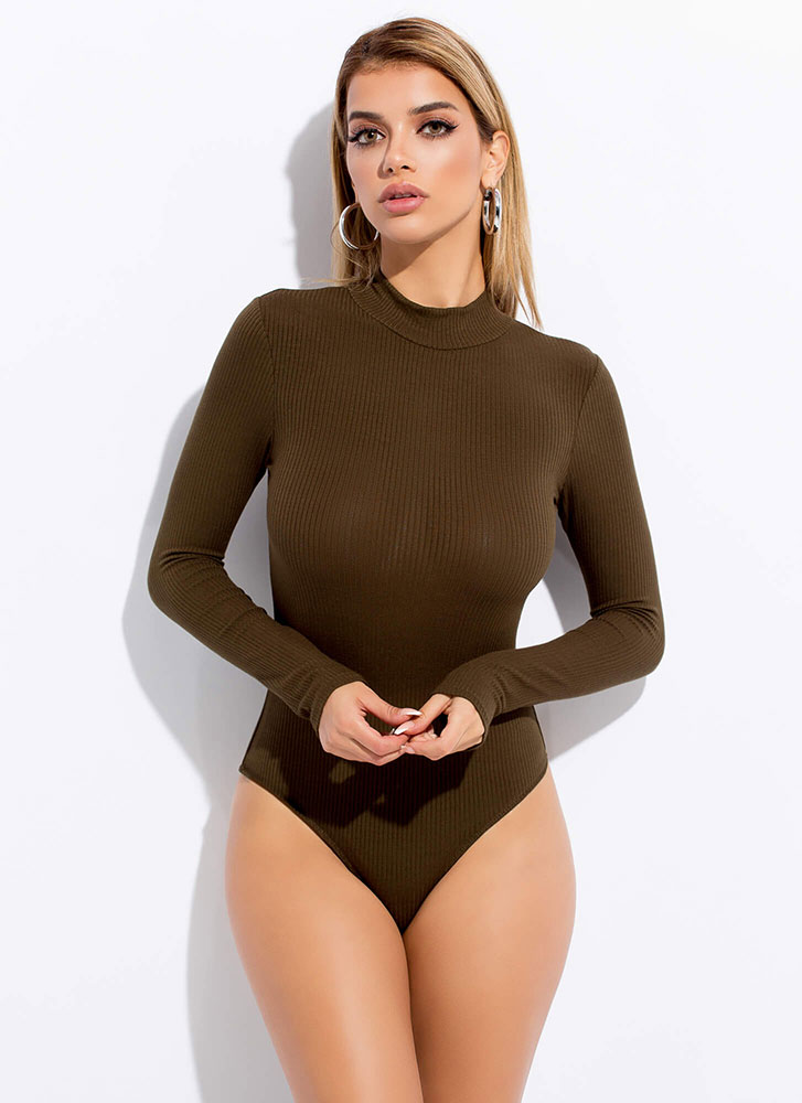 The Basics Rib Knit Mockneck Bodysuit OLIVE