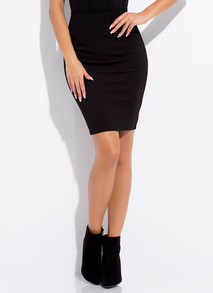 I'll Pencil You In High-Waisted Skirt BLACK