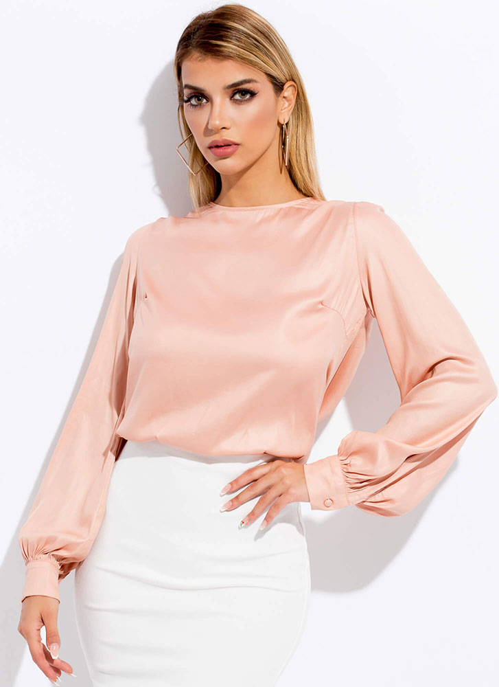 Party In The Back Silky Tied Blouse NUDE