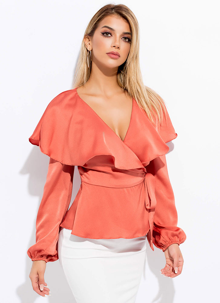 Floating On Air Ruffled Wrapped Top CLAY