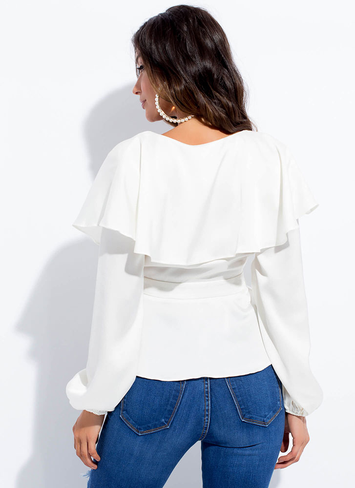 Floating On Air Ruffled Wrapped Top CREAM