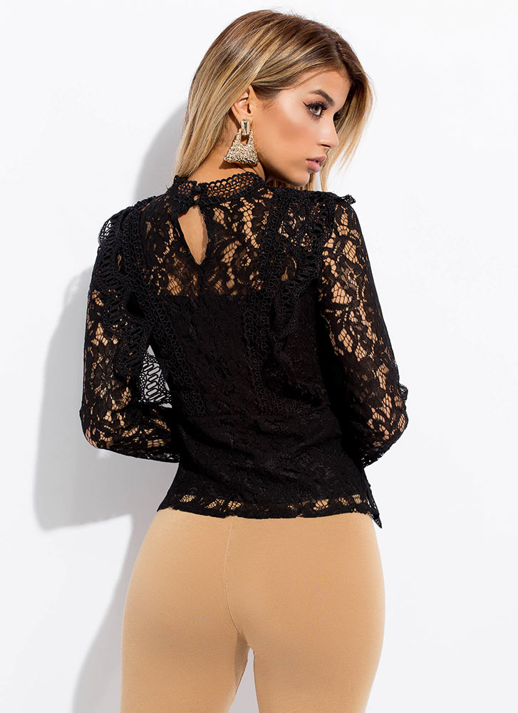 Fall Into Lace Crochet Trim Blouse BLACK