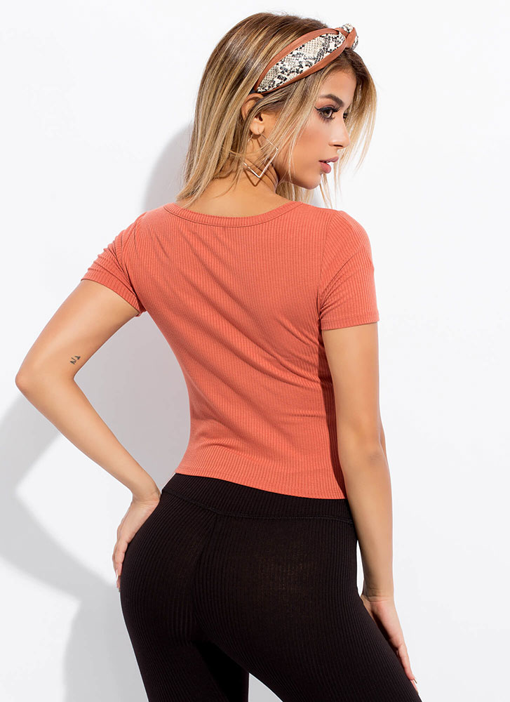 Easy Choice Ribbed Scoop Neck Crop Top TERRACOTTA